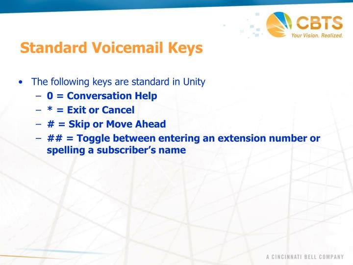 Standard Voicemail Keys
