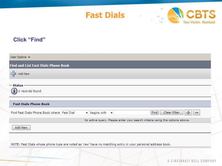 Fast Dials