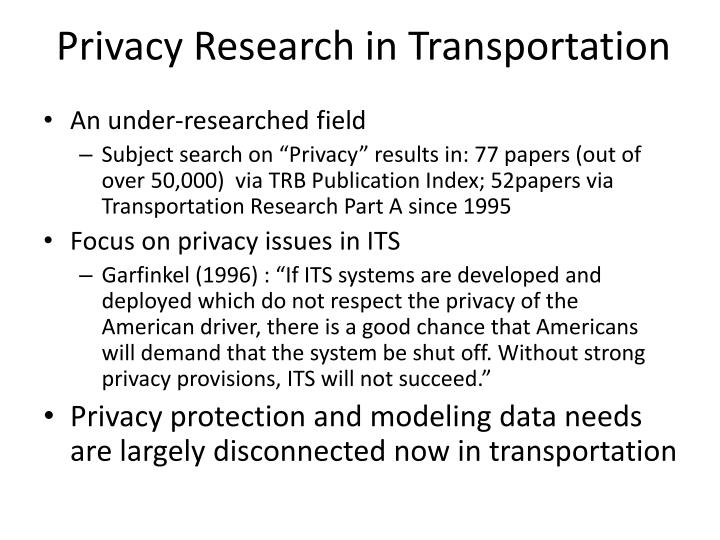 Privacy Research in Transportation