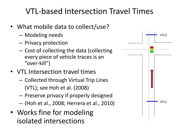 VTL-based Intersection Travel Times