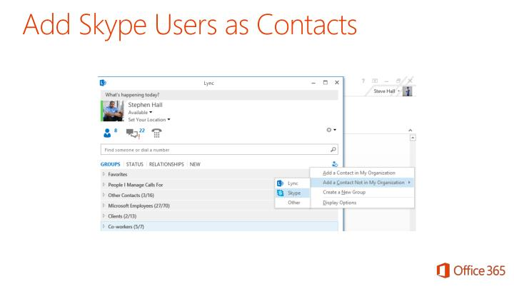 Add Skype Users as Contacts