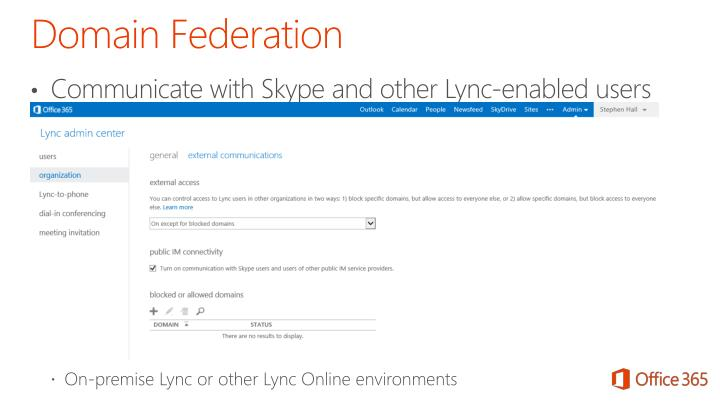 Communicate with Skype and other Lync-enabled users