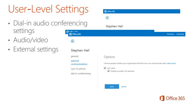 Dial-in audio conferencing settings