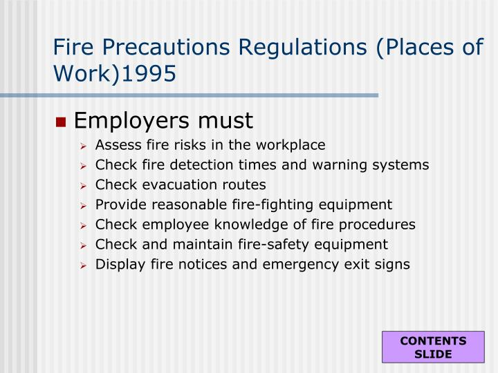 Fire Precautions Regulations (Places of Work)1995