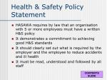 health safety policy statement