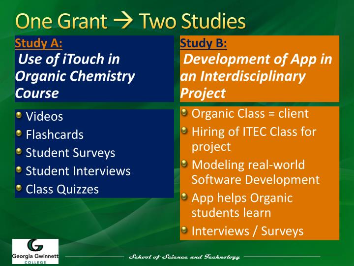 One grant two studies
