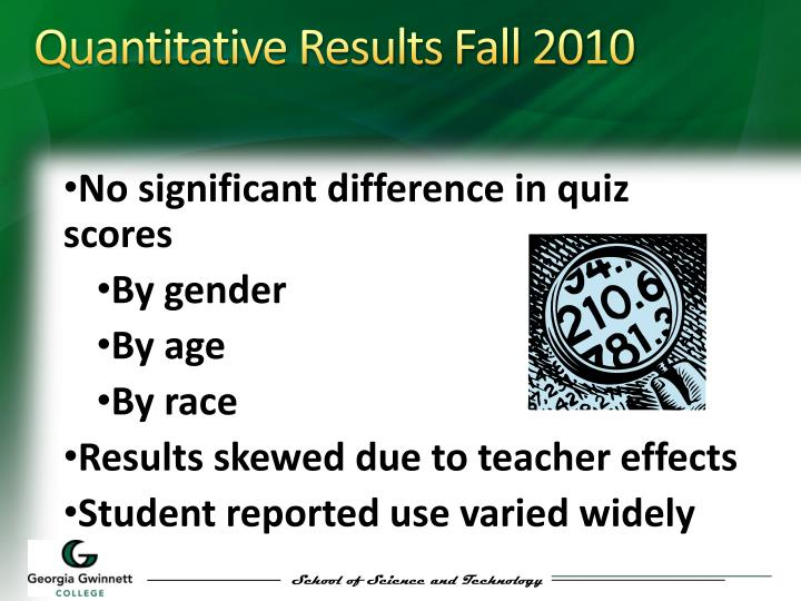 Quantitative Results Fall 2010