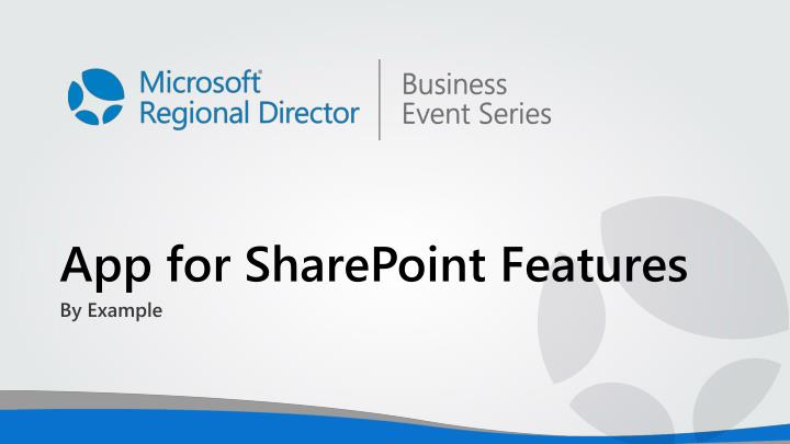 App for SharePoint Features