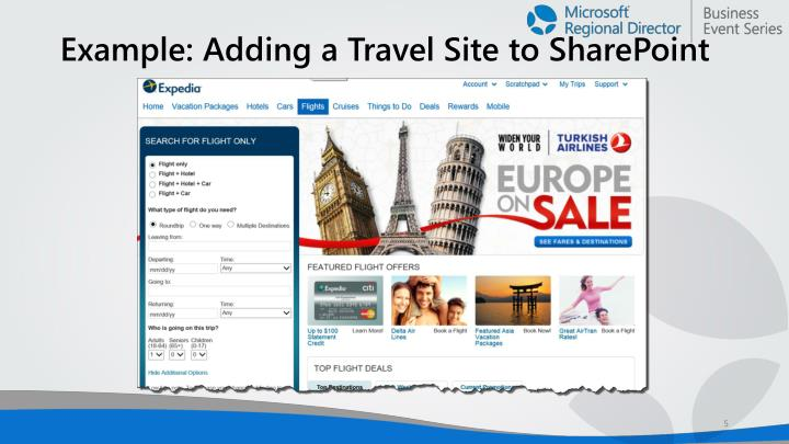 Example: Adding a Travel Site to SharePoint