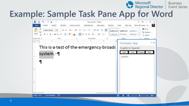 Example: Sample Task Pane App for Word
