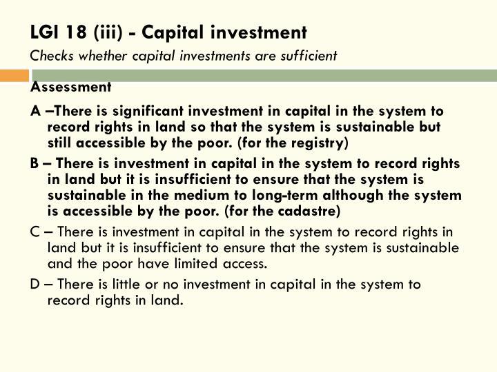 LGI 18 (iii) - Capital investment