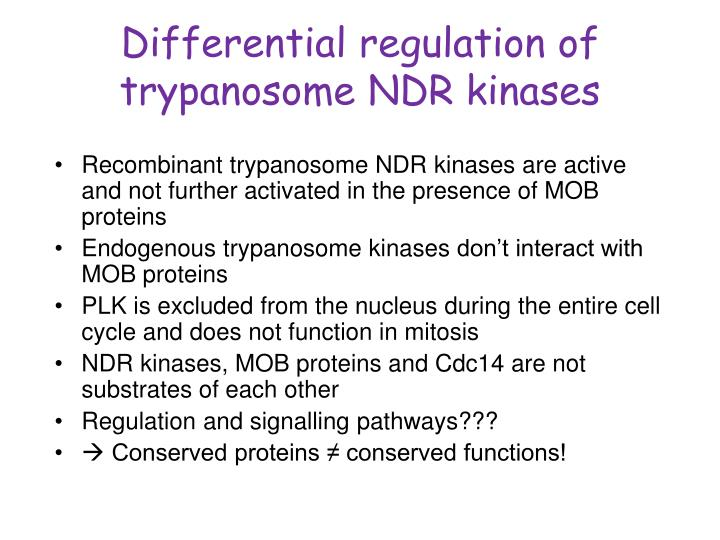 Differential regulation of trypanosome NDR