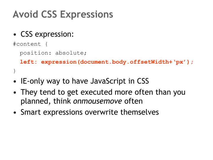 Avoid CSS Expressions