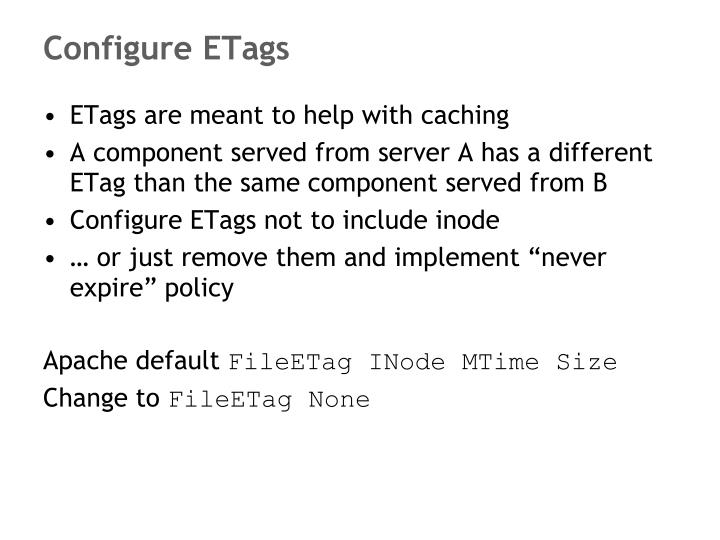 Configure ETags