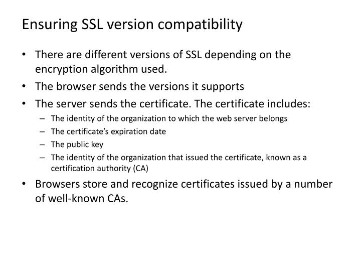 Ensuring SSL version compatibility