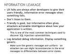 nformation leakage