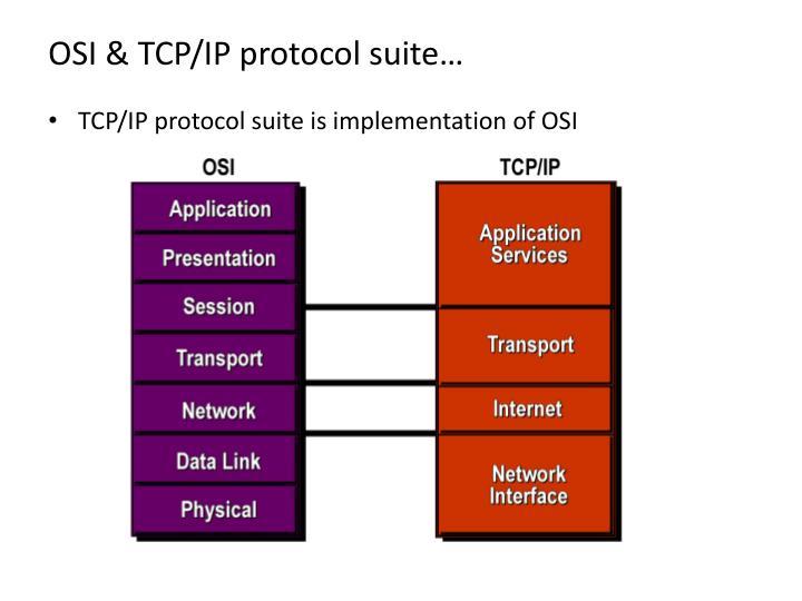 OSI & TCP/IP protocol suite…