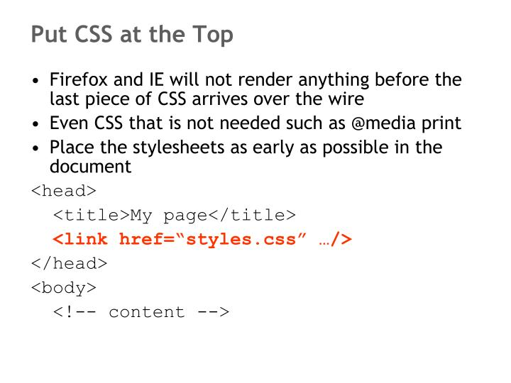 Put CSS at the Top