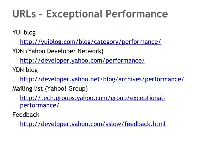 URLs – Exceptional Performance