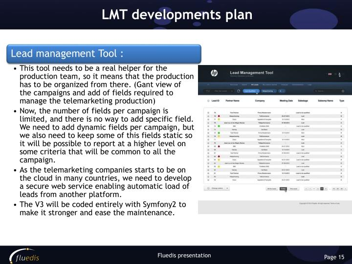 LMT developments plan
