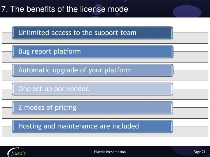 7. The benefits of the license mode