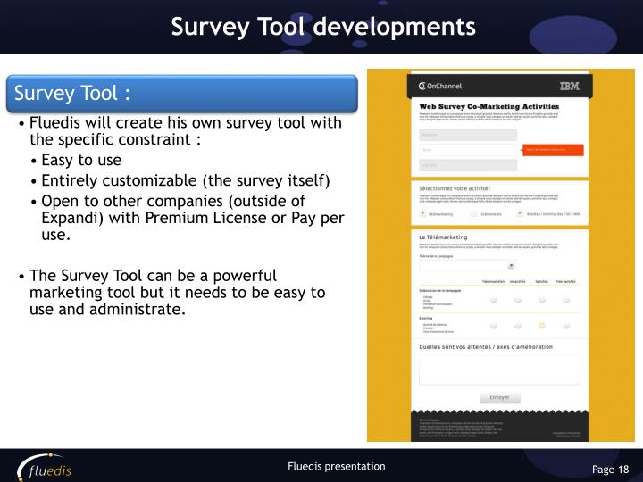 Survey Tool developments