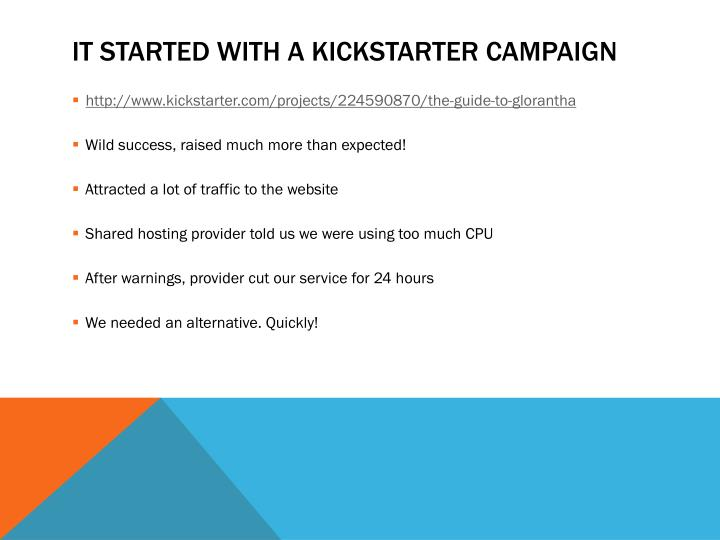 It started with a kickstarter campaign
