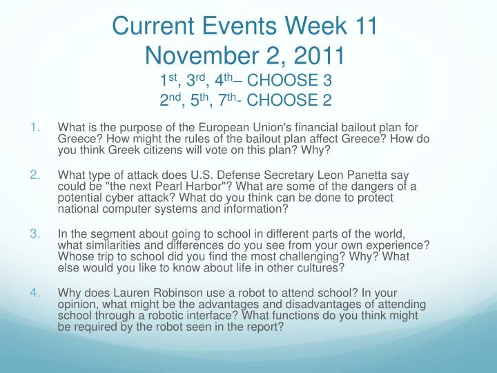 Current Events Week 11