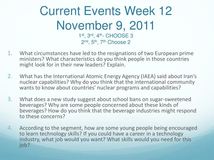 Current Events Week 12