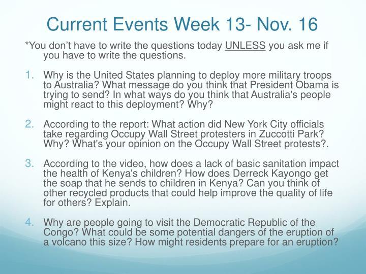 Current Events Week 13- Nov. 16