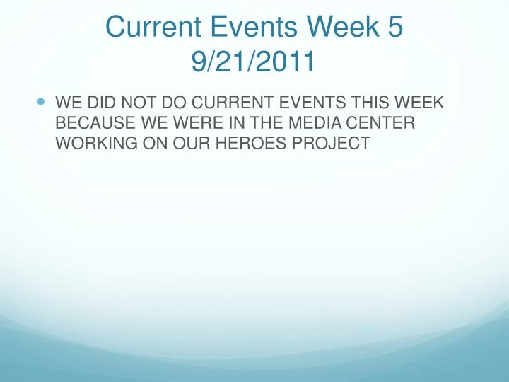 Current Events Week 5