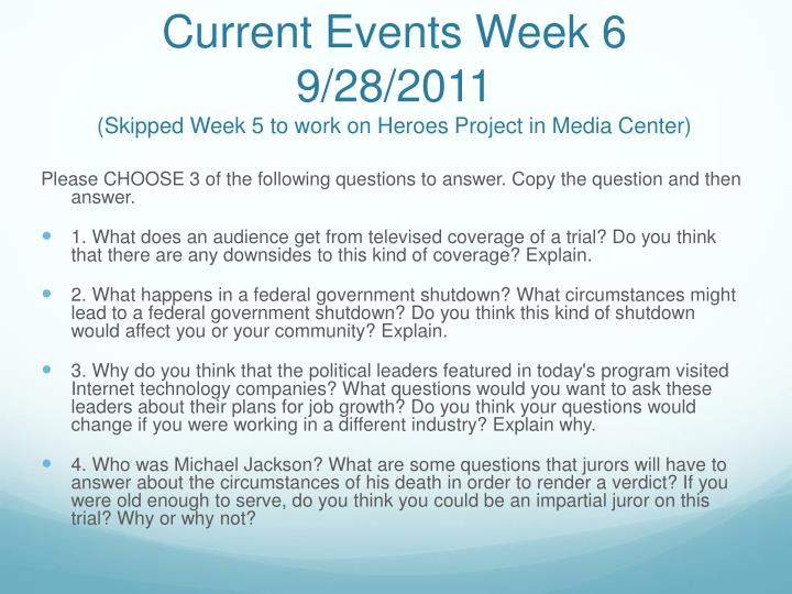 Current Events Week 6