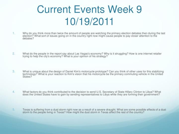 Current Events Week 9