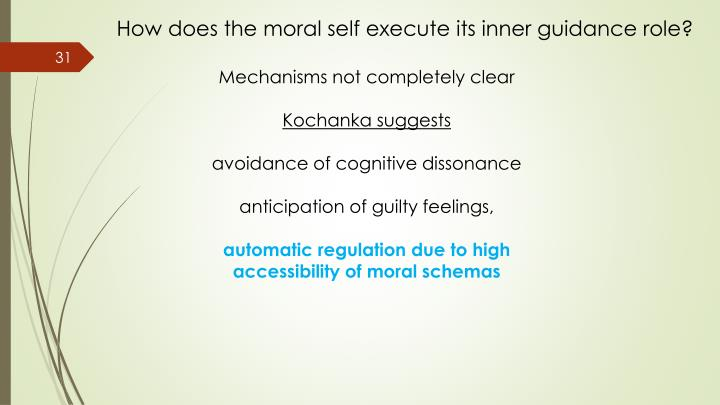 How does the moral self execute its inner guidance role?