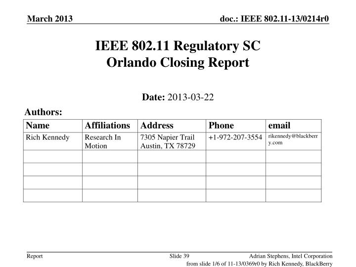 IEEE 802.11 Regulatory SC