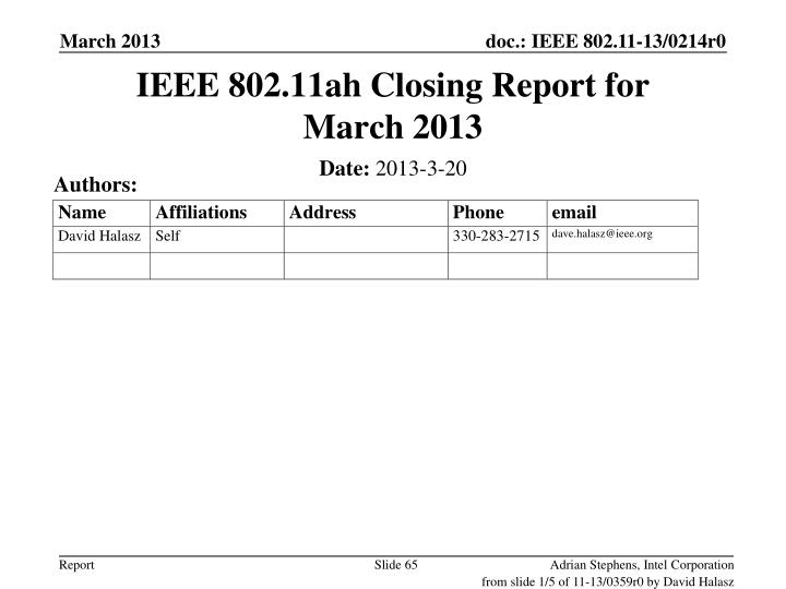 IEEE 802.11ah Closing Report for