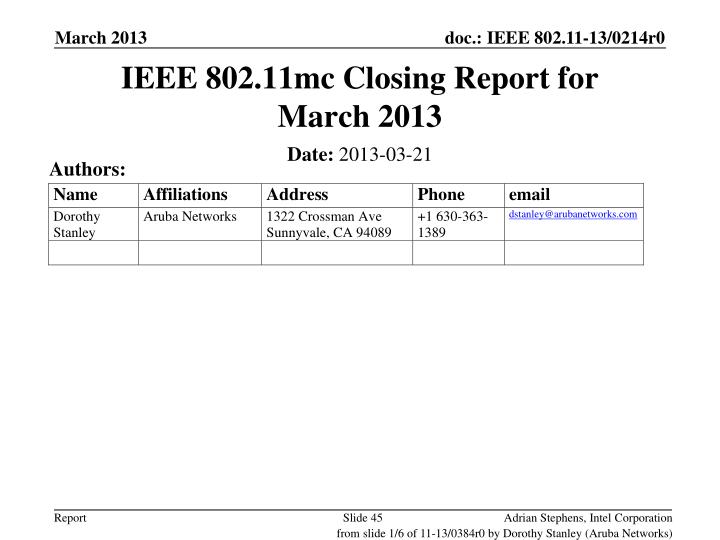 IEEE 802.11mc Closing Report for