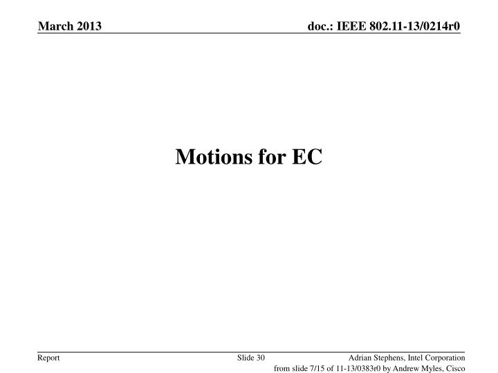 Motions for EC