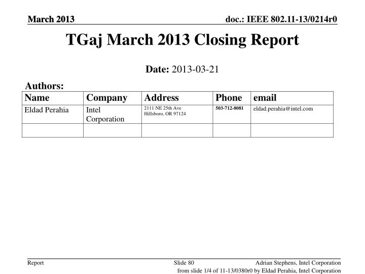 TGaj March 2013 Closing Report