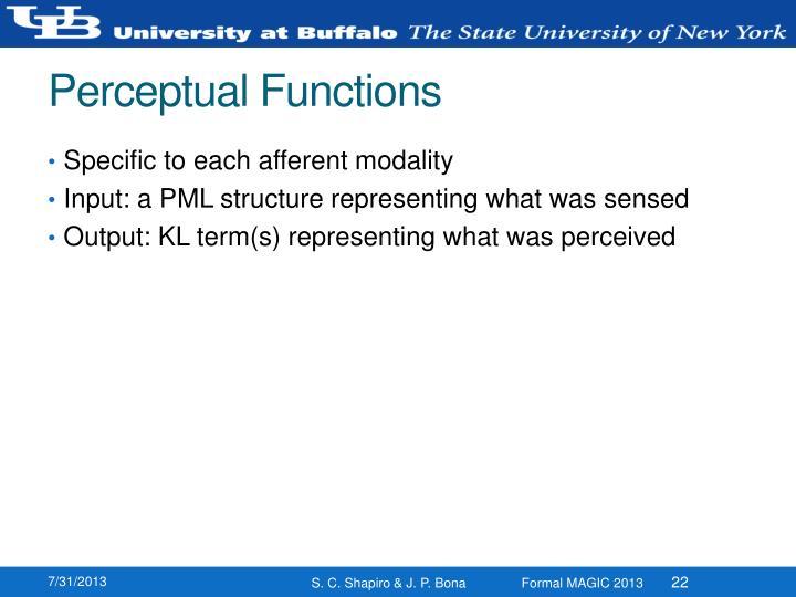 Perceptual Functions