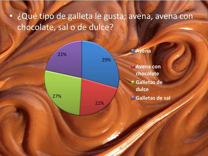 ¿Qué tipo de galleta le gusta; avena, avena con chocolate, sal o de dulce?