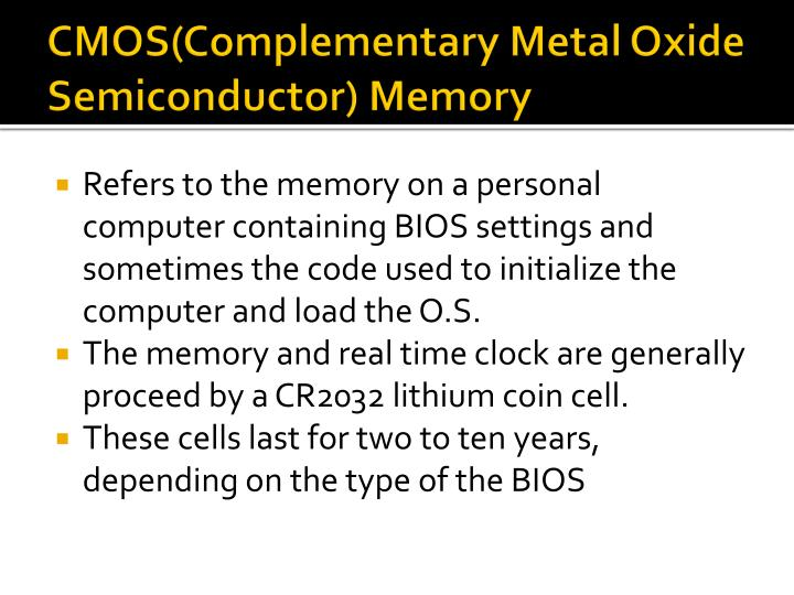 CMOS(Complementary Metal Oxide Semiconductor) Memory