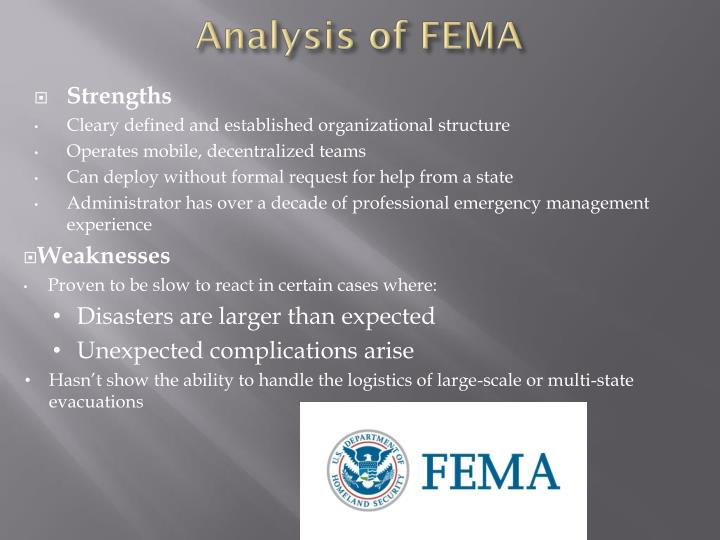 Analysis of FEMA