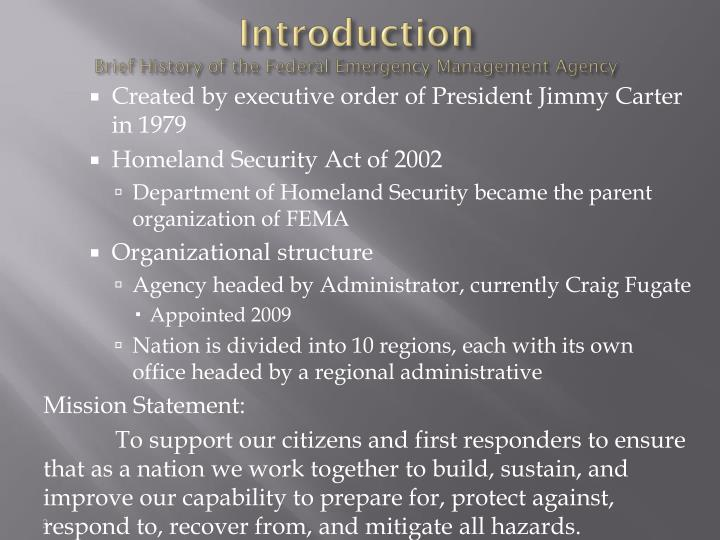 Introduction brief history of the federal emergency management agency