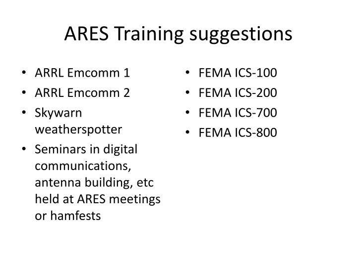 ARES Training suggestions