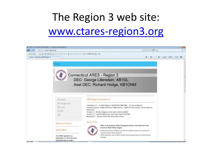 The Region 3 web site: