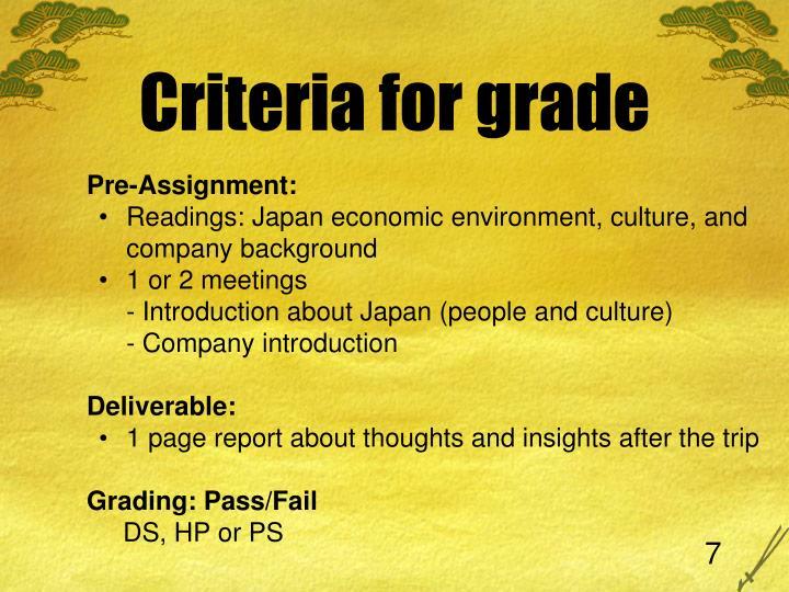 Criteria for grade