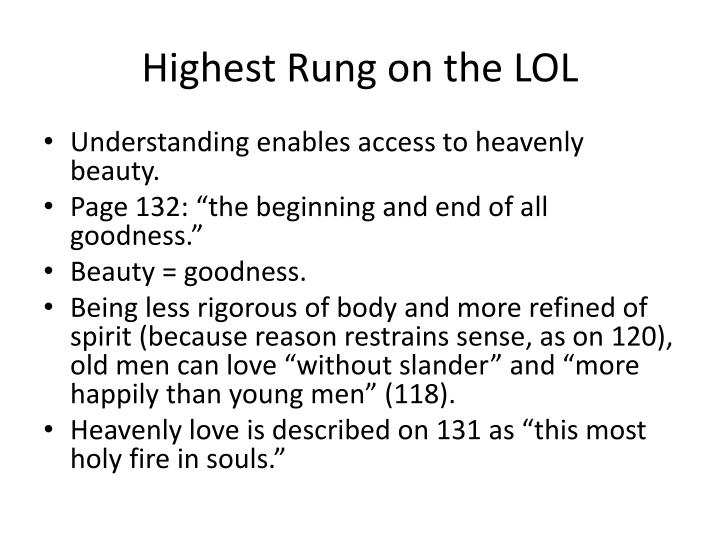 Highest Rung on the LOL