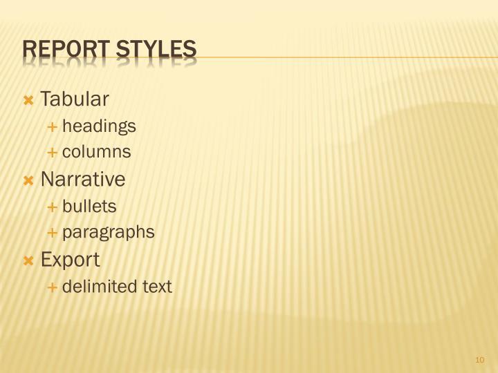 Report Styles
